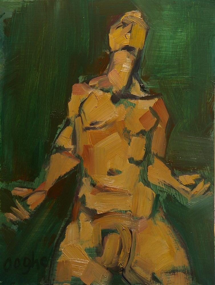 """Male Nude on Green"" original fine art by Angela Ooghe"
