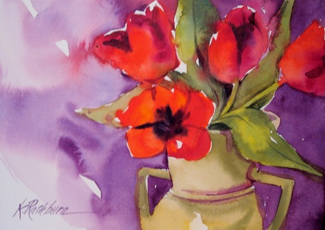 """tulips"" original fine art by Kathy Los-Rathburn"