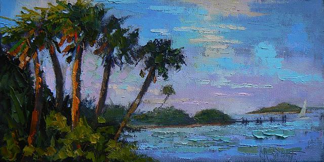 """Landscape Daily Painting,Tropical Glow 6x12"" original fine art by Carol Schiff"