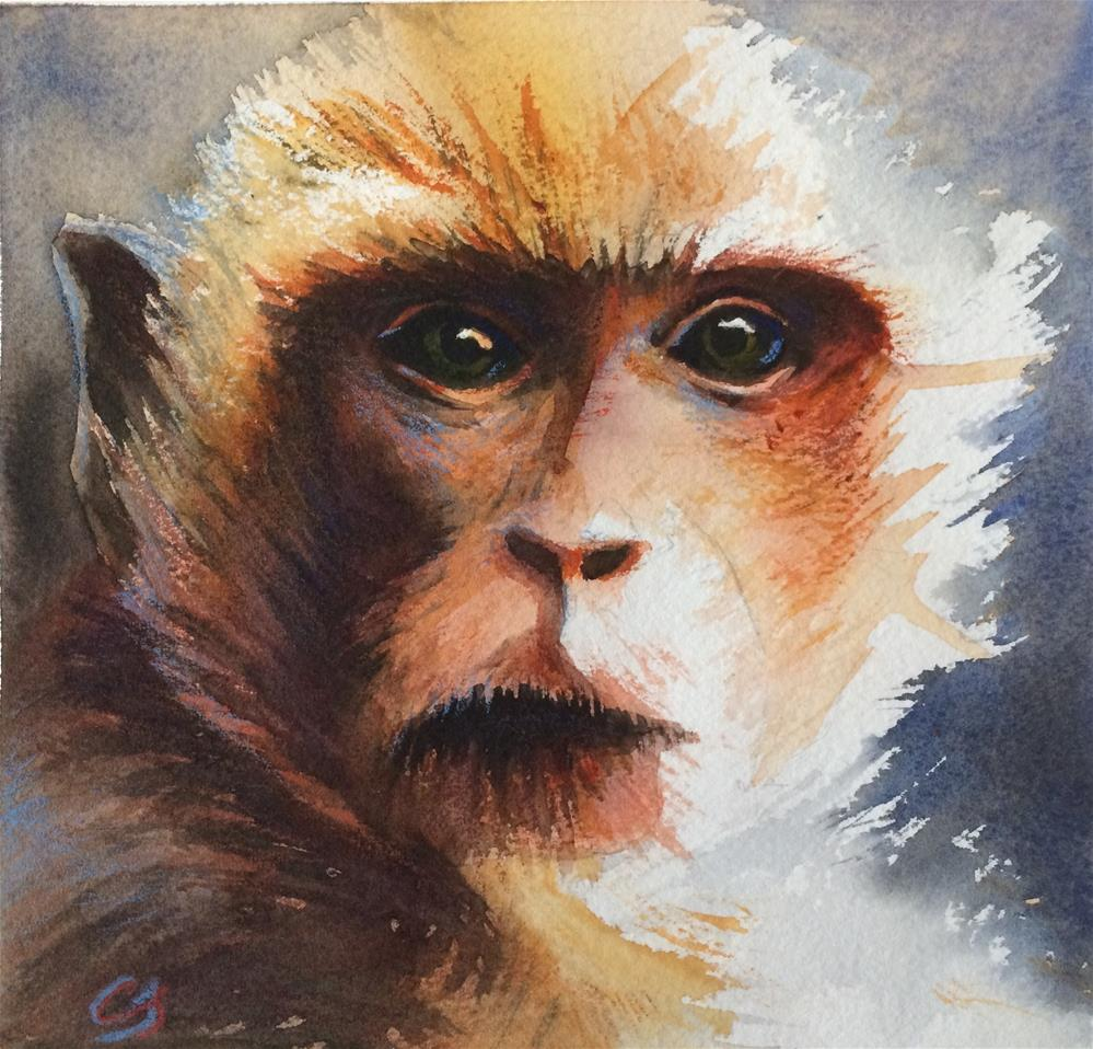 """Monkey III"" original fine art by Claudia Selene"