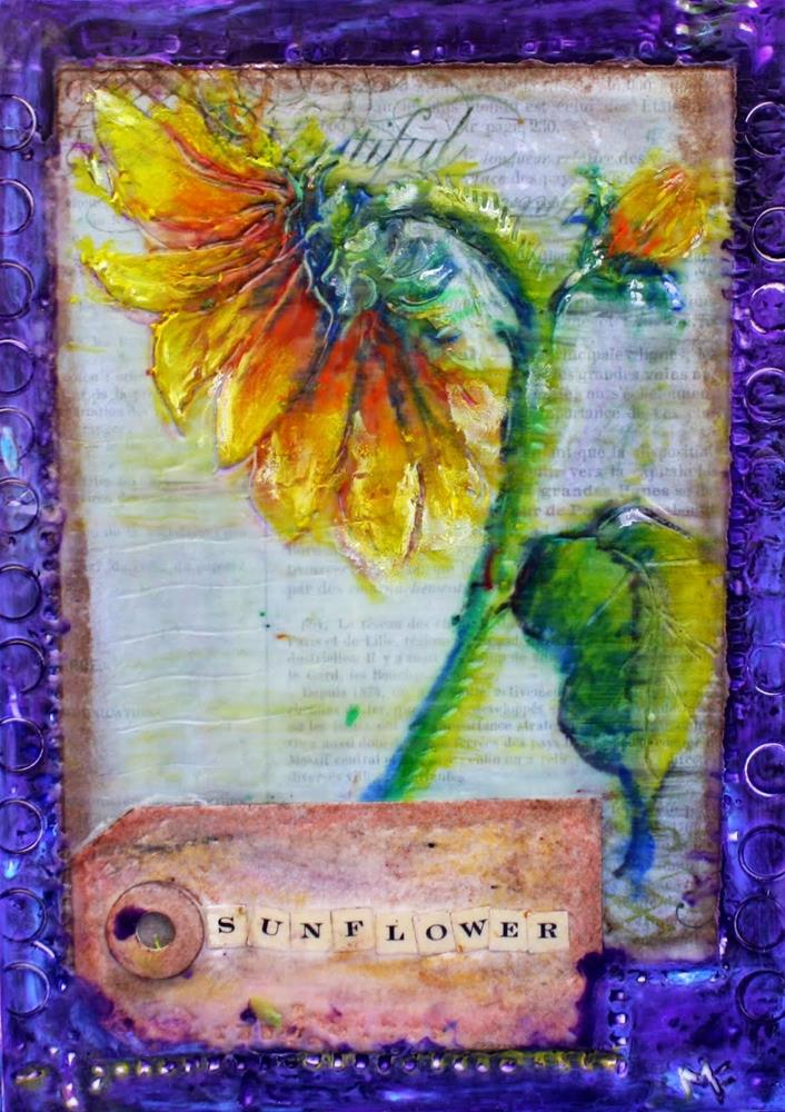 """Sunflower Encaustic"" original fine art by Maggie Flatley"