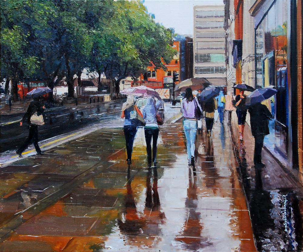 """Sloane Square, Summer Showers"" original fine art by Adebanji Alade"