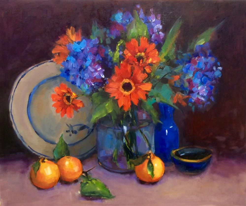 """Blue and Orange"" original fine art by Laurie Johnson Lepkowska"