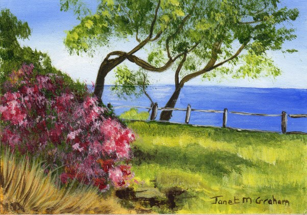 """Sea View ACEO"" original fine art by Janet Graham"
