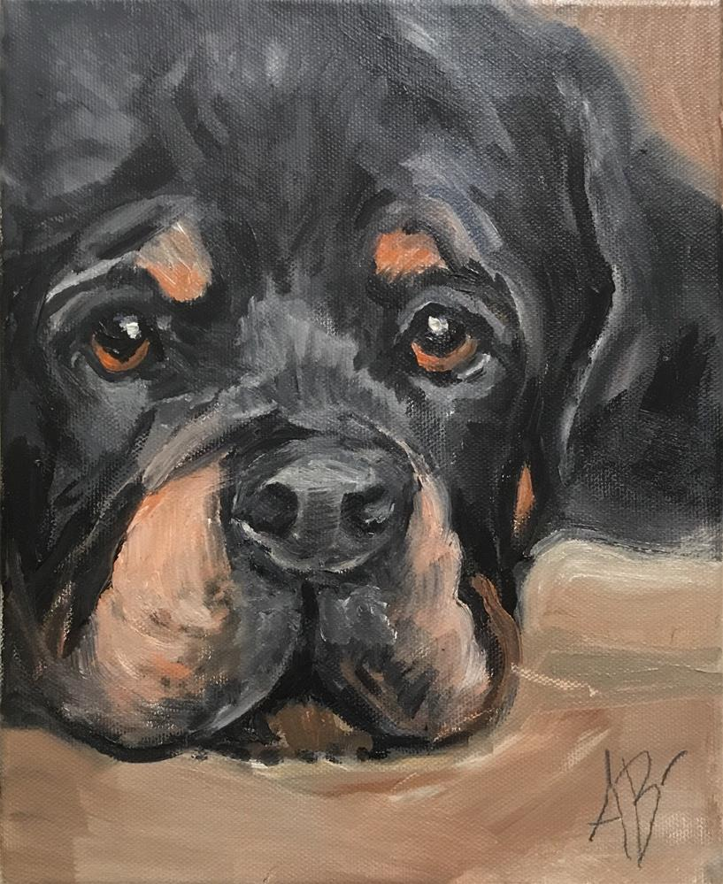 """Rottweiler puppy eyes"" original fine art by Annette Balesteri"