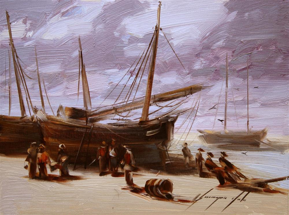 """""""FISHING BOATS ORIGINAL OIL PAINTING ON CANVAS GALLERY QUALITY"""" original fine art by V Yeremyan"""