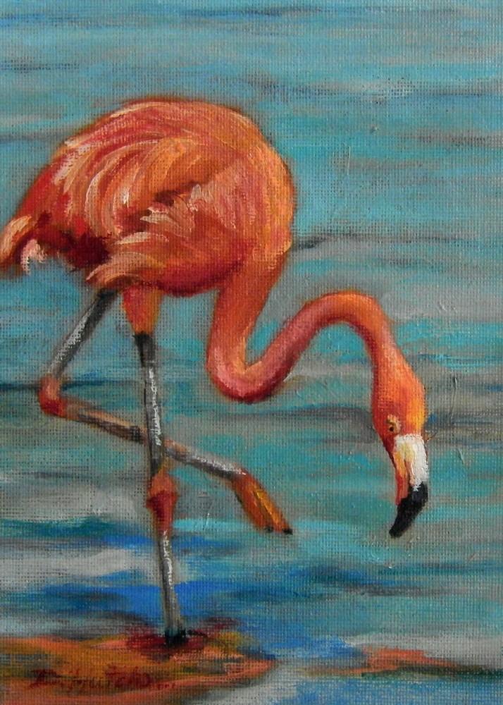 """Flamingo #1"" original fine art by Diane Hutchinson"