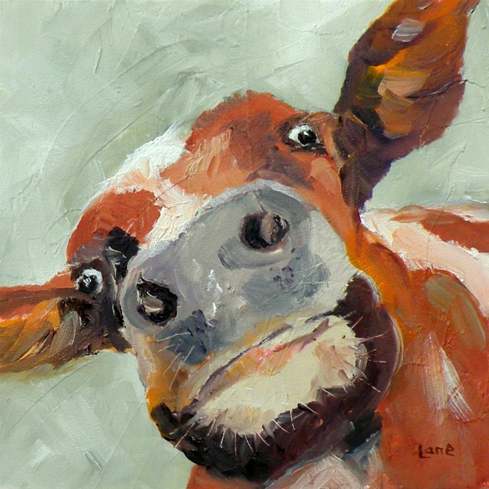 """COW'S EYE VIEW ORIGINAL 4X4 OIL ON TEXTURED PANEL FOR ETSY © SAUNDRA LANE GALLOWAY"" original fine art by Saundra Lane Galloway"