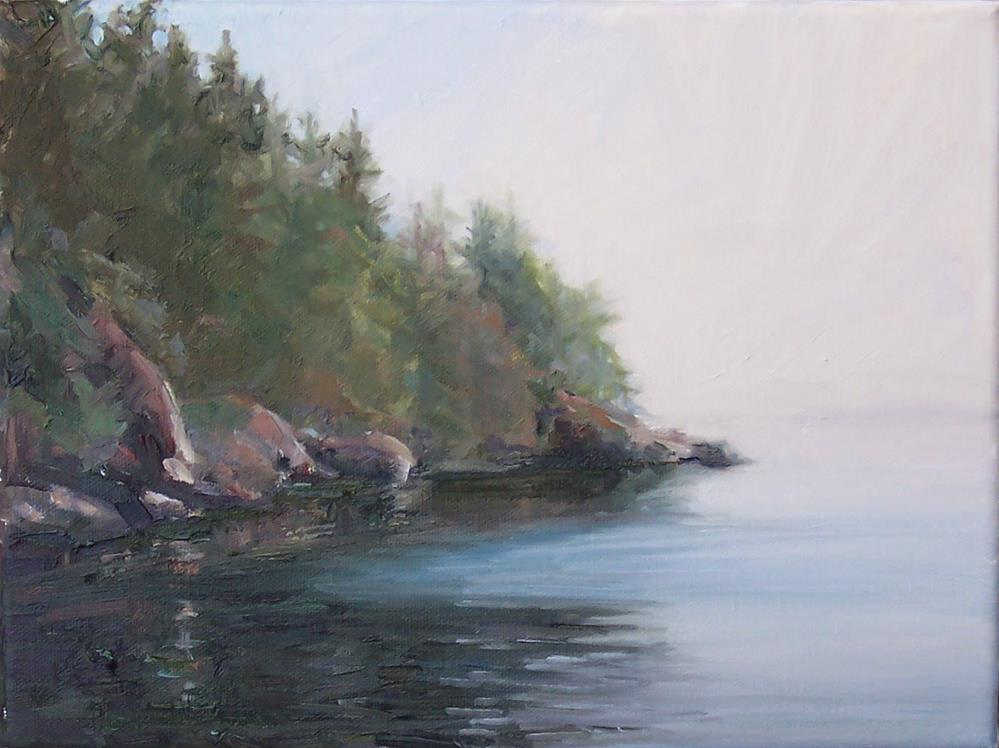 """Morning Fog at Larrabee State Park,seascape,oil on canvas,9x12,price$700"" original fine art by Joy Olney"