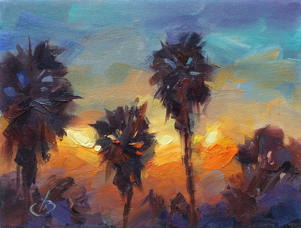 """CALIFORNIA PALMS AT SUNSET"" original fine art by Tom Brown"