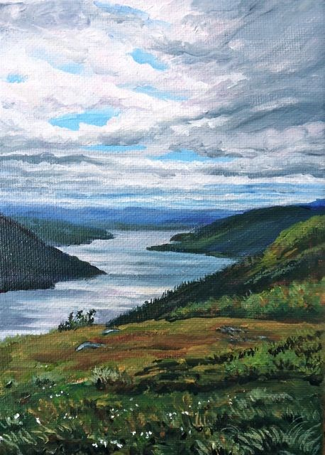 """LIttle Salmon Lake from the Northwestel Road"" original fine art by Jackie Irvine"