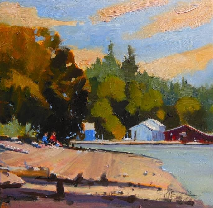 """Prichard Park Boat House, plein air landscape painting by Robin Weiss"" original fine art by Robin Weiss"
