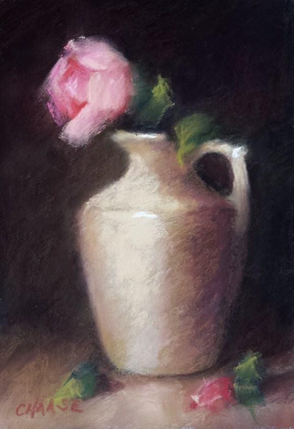 """Pitcher and Rose"" original fine art by Cindy Haase"