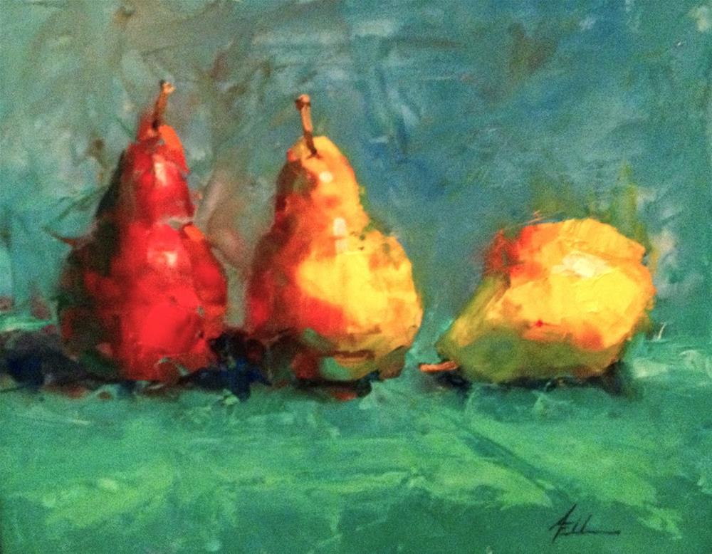 """""""Three Pears Is Off To The AIS Show!"""" original fine art by Ann Feldman"""