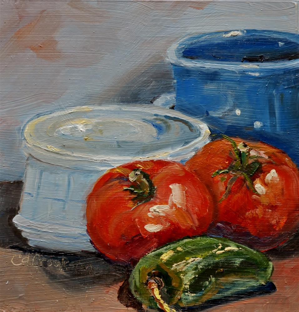 """Tomatoes and Pepper"" original fine art by Catherine Crookston"