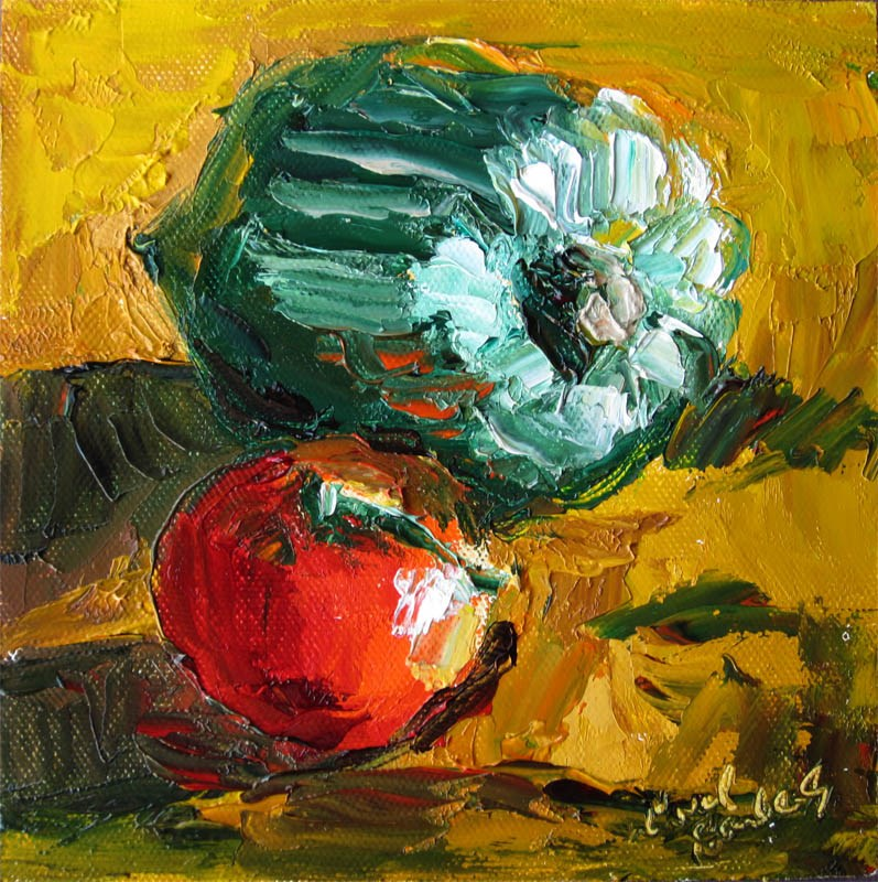 """Acorn Squash, Tomato, Late Afternoon"" original fine art by Carol Steinberg"