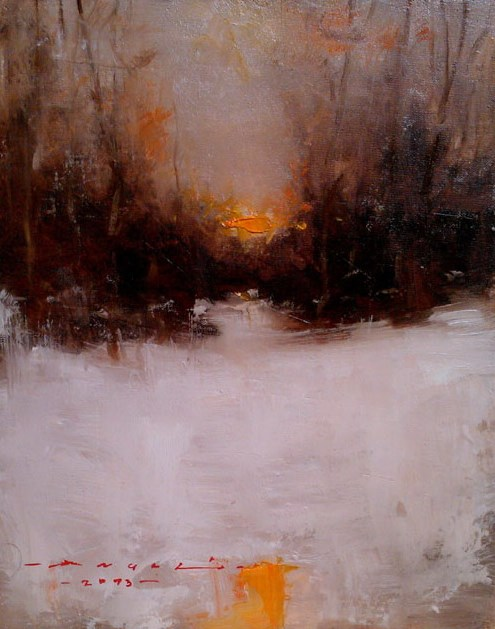 """Winter landscape-029"" original fine art by Angel Angelov"