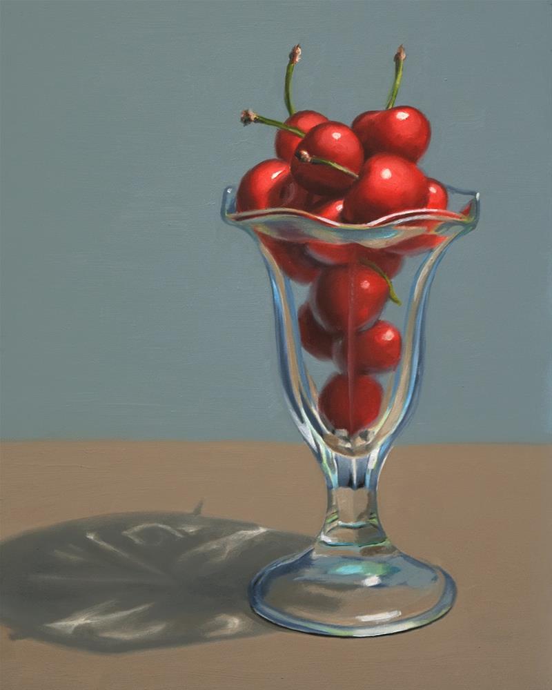 """Cherries in Sundae Glass II"" original fine art by Nance Danforth"