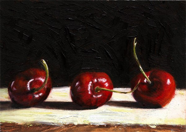 """Three Cherries #1"" original fine art by Peter J Sandford"