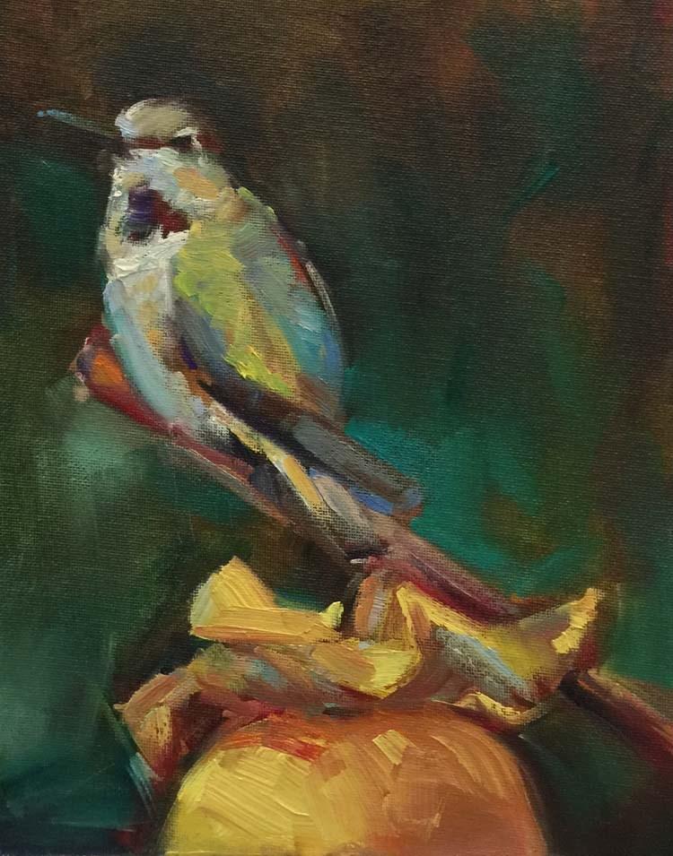 """The Persimmon Hummingbird Perch"" original fine art by Patti McNutt"