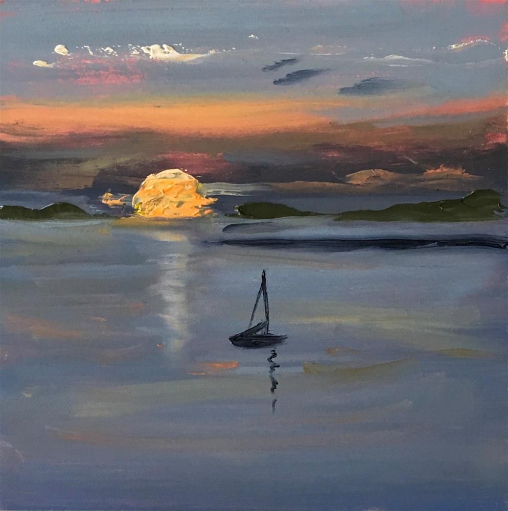 """Sunset Over Cape Cod Bay"" original fine art by Patty Barnes"