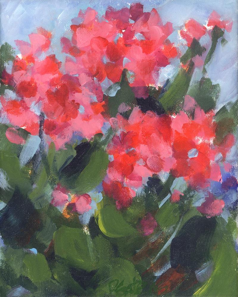 """""""Bright Geraniums"""" original fine art by Pamela Gatens"""