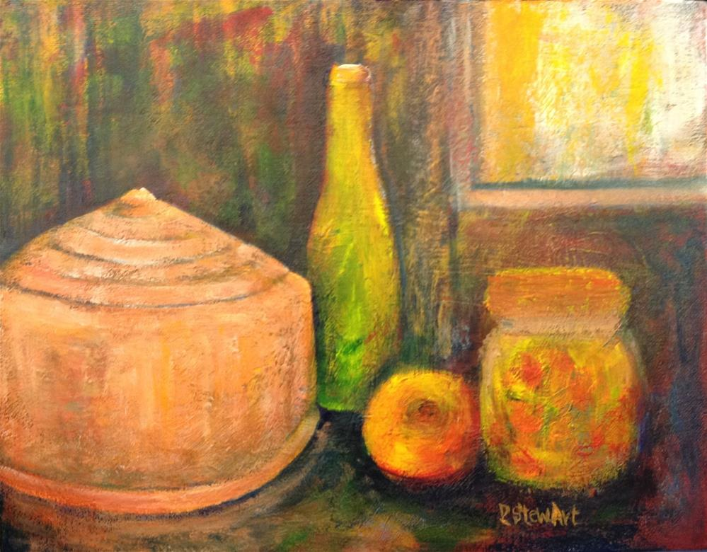 """11x14 Vintage Copper Cake Tin Still Life Bottle Fruit Window Penny Lee Stewart"" original fine art by Penny Lee StewArt"