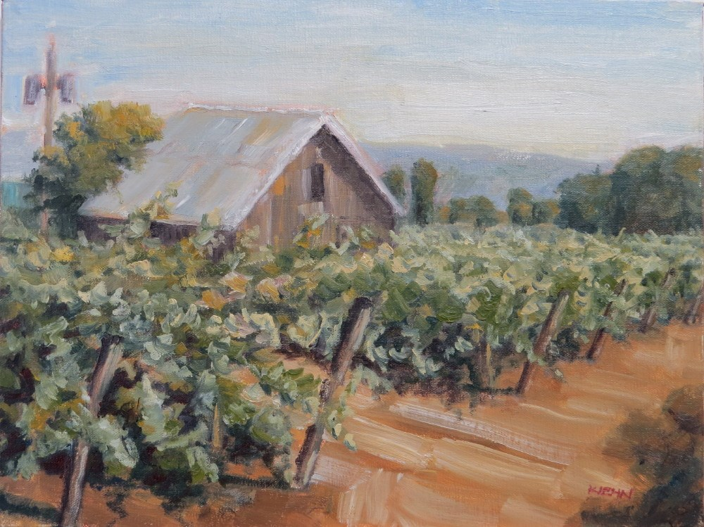 """Old Barn in the Vineyard"" original fine art by Richard Kiehn"