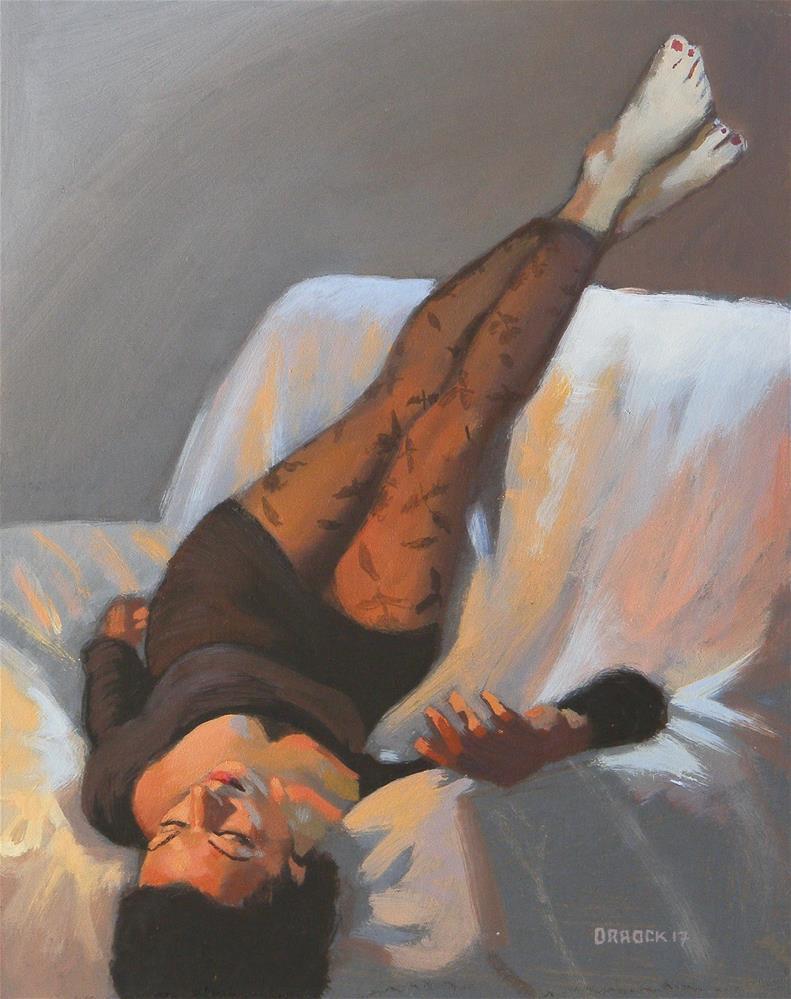 """""""Putting her feet up"""" original fine art by Peter Orrock"""