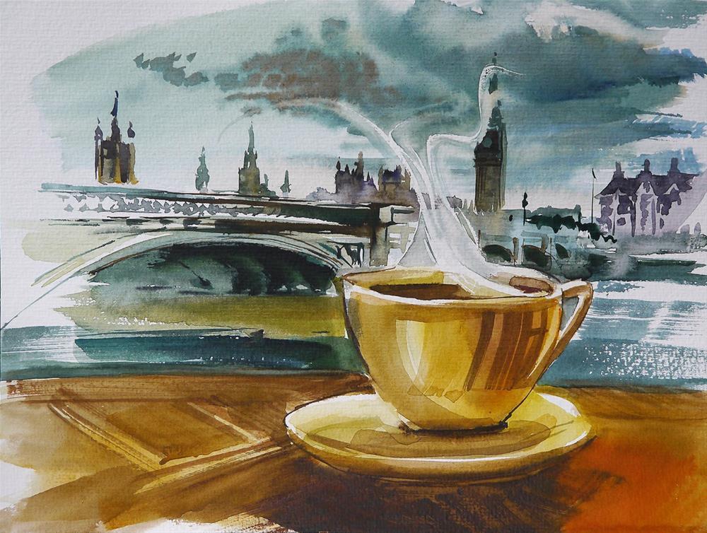 """coffe in london"" original fine art by Beata Musial-Tomaszewska"