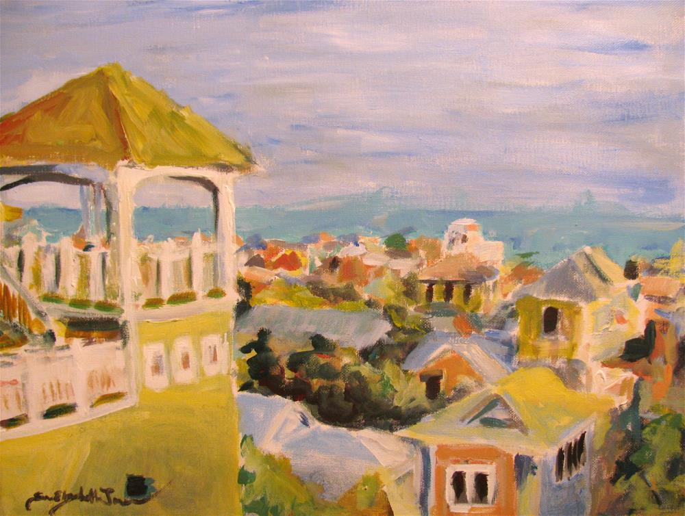 """Rooftops of Seaside"" original fine art by Susan Elizabeth Jones"