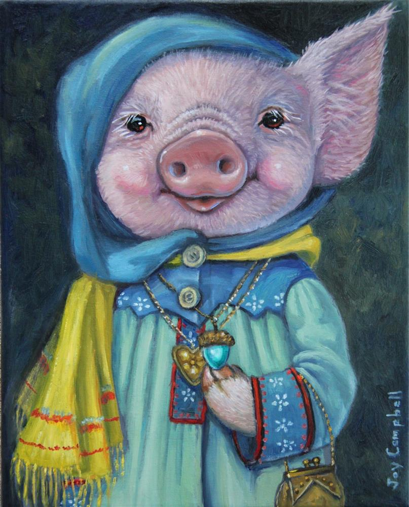 """Miss Piggie's New Coat"" original fine art by Joy Campbell"
