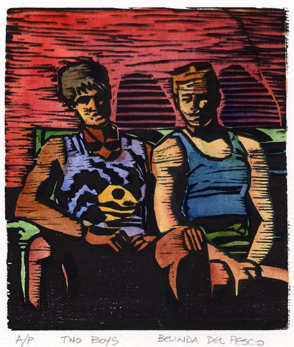 """Woodcut & Watercolor: Two Boys - & Art Festival photos"" original fine art by Belinda Del Pesco"