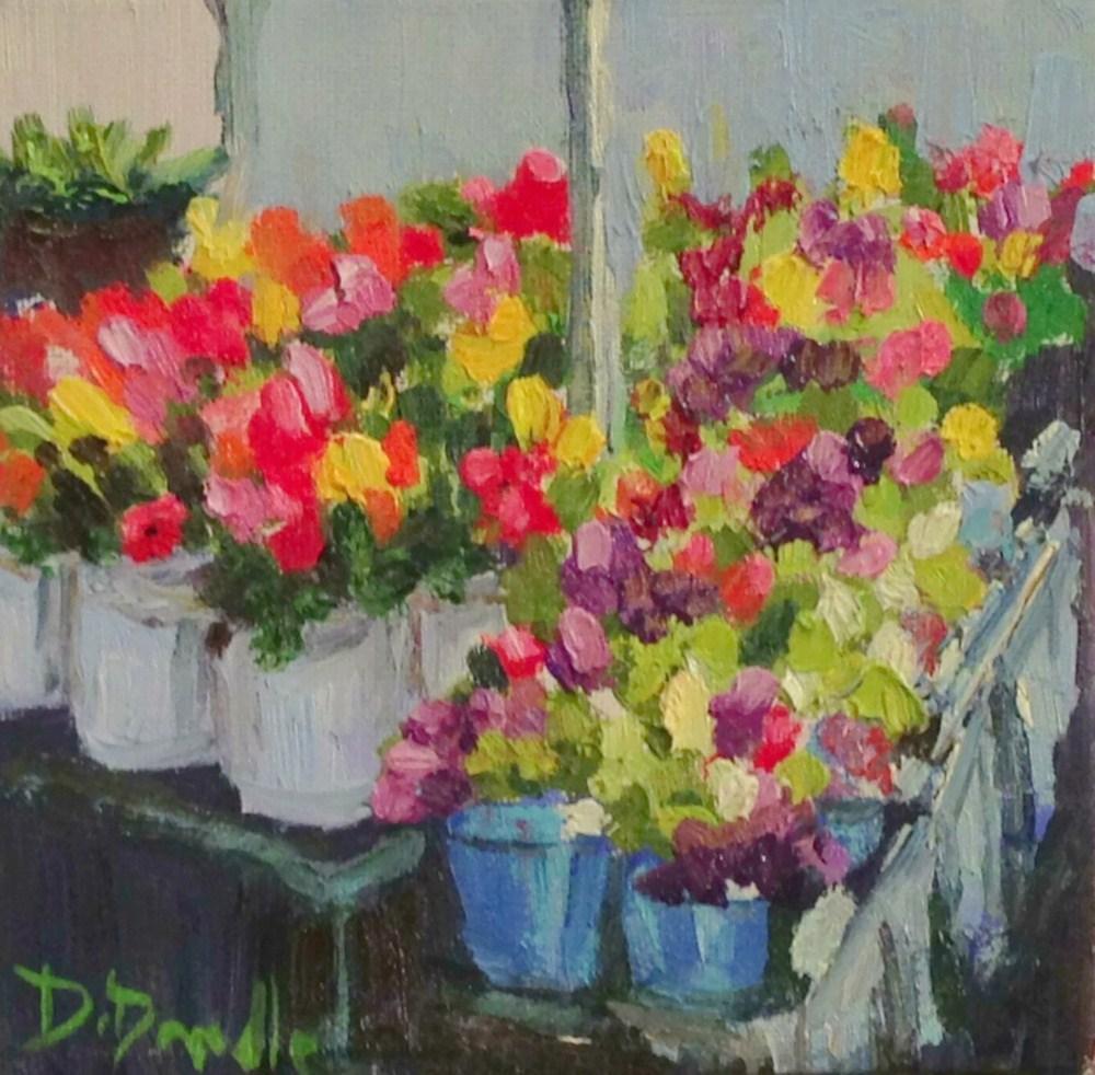 """Farmers Market Challenge"" original fine art by Debbie Dowdle"