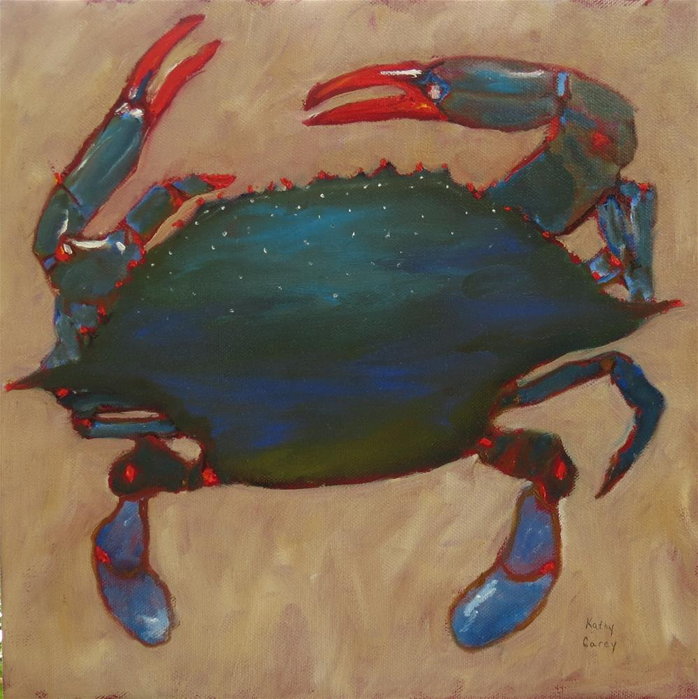 """Crab cakes for dinner?"" original fine art by Kathy Carey"