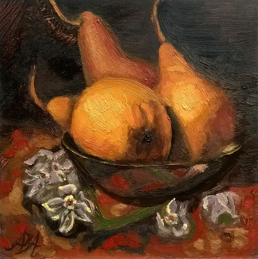 """Pears with White Flowers"" original fine art by Adriana B. Almquist"