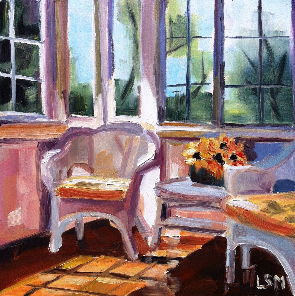 """Sunny Porch"" original fine art by Linda Marino"