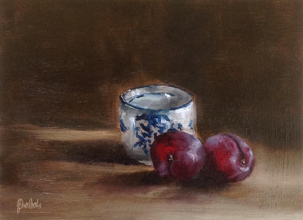 """""""Chinese teacup and plums"""" original fine art by Heidi Shedlock"""