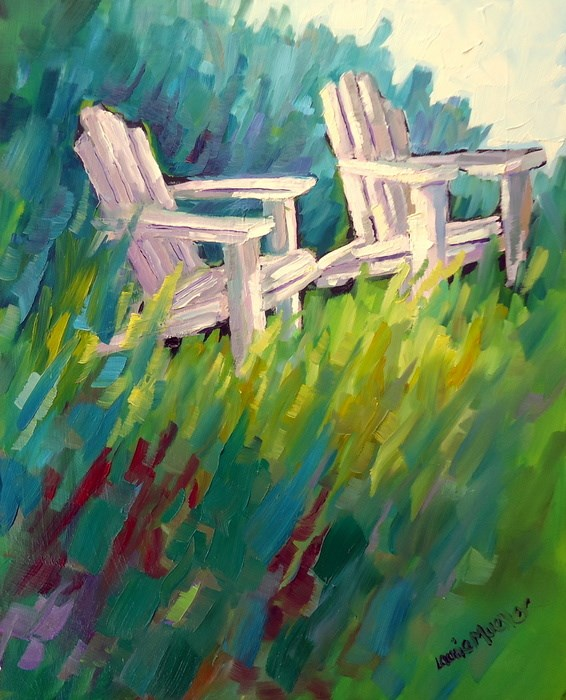 """Let's Sit"" original fine art by Laurie Mueller"