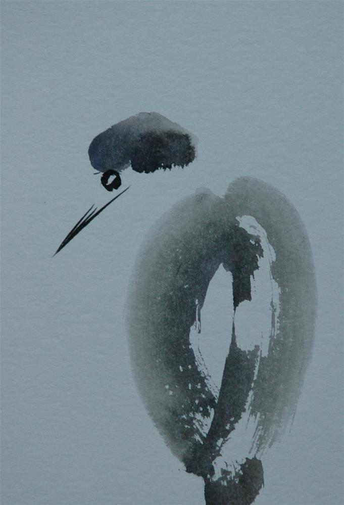 """Heron"" original fine art by Ulrike Schmidt"