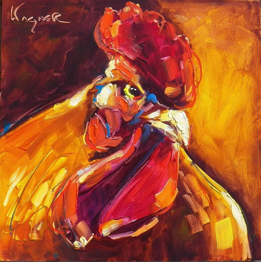 """ROOSTER PAINTING IN OILS by OLGA WAGNER and RUNNING ISSUES"" original fine art by Olga Wagner"