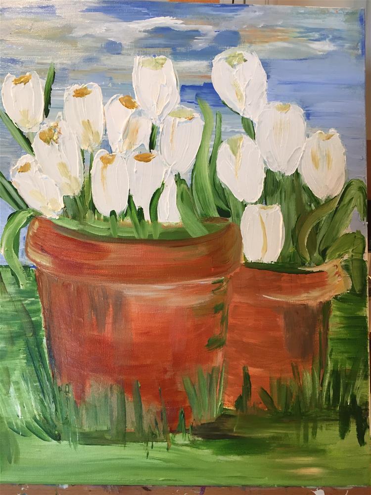 """""""First Tulips"""" original fine art by Yvonne Snead"""