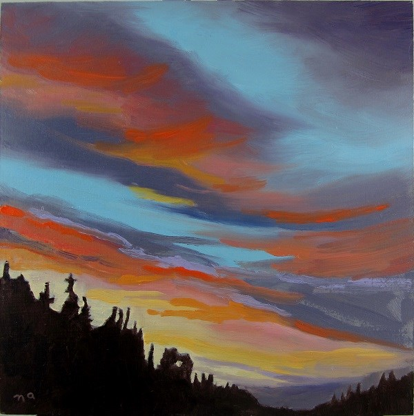 """Drive North At Dusk"" original fine art by Nicki Ault"