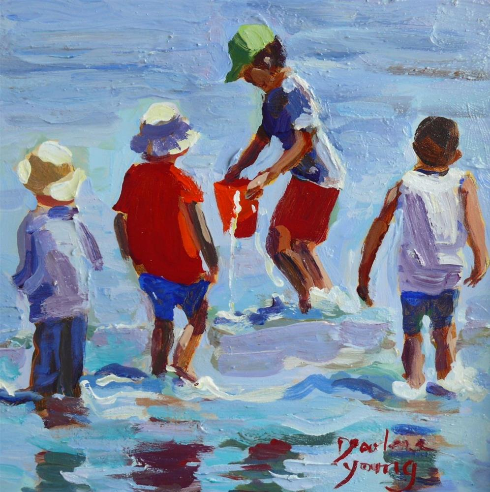 """853 Beach Boys, 6x6"" original fine art by Darlene Young"