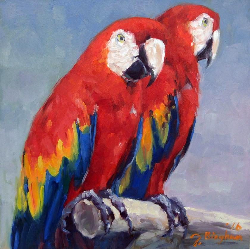 """Scarlet Macaws"" original fine art by Joanna Bingham"