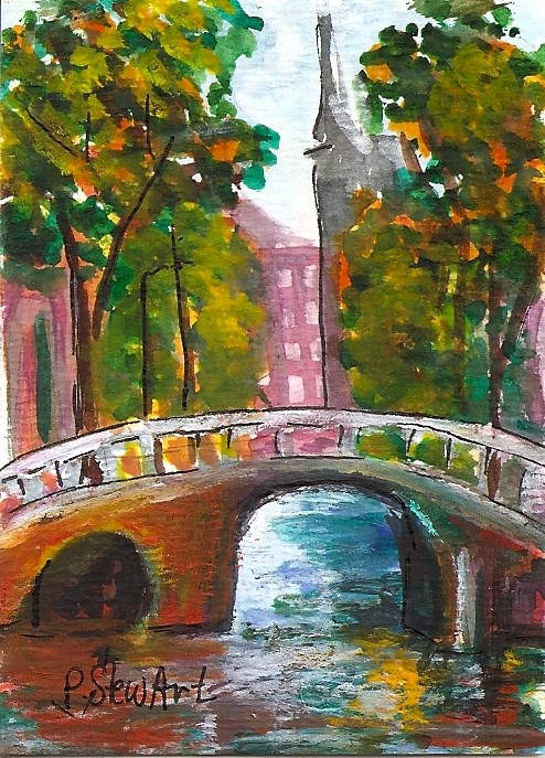 """ACEO Bridge Over Colored Waters Mixed Media Landscape City Penny StewArt"" original fine art by Penny Lee StewArt"