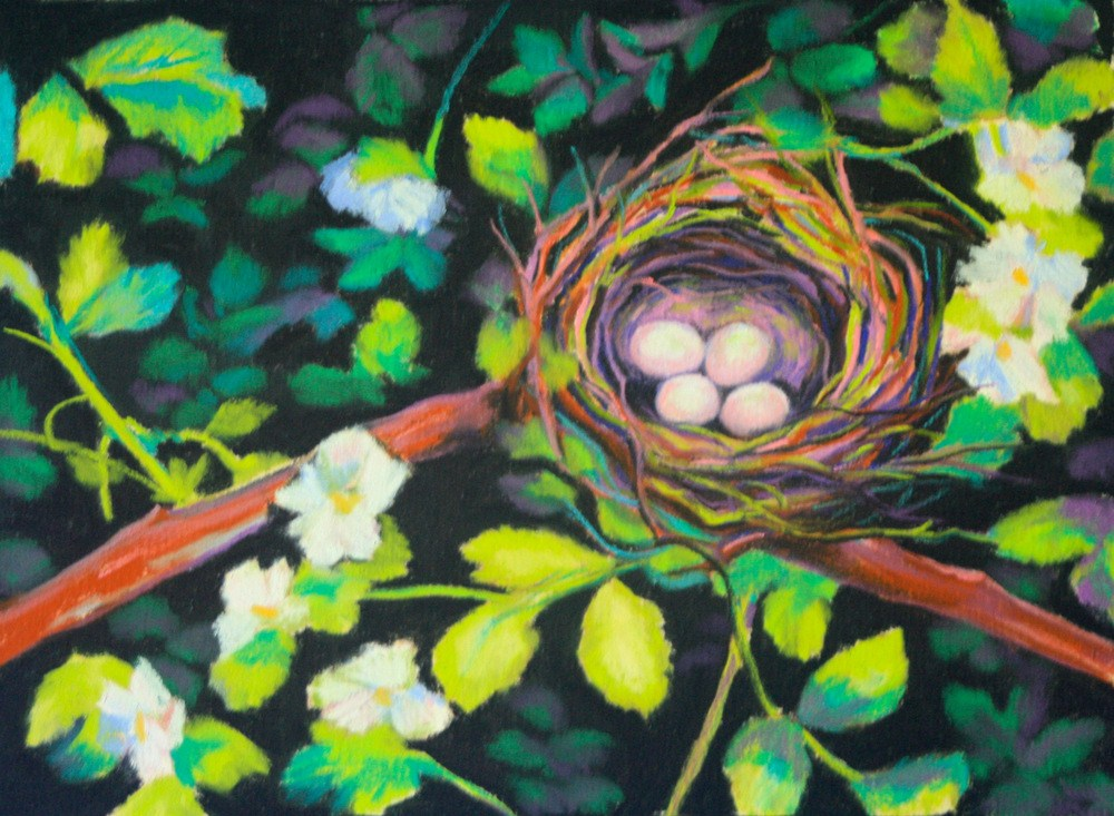 """Safe Among the Berry Blooms"" original fine art by Jill Bates"