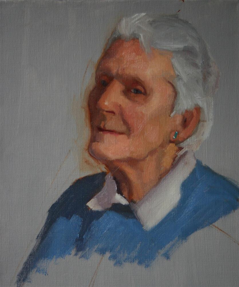 """Oil sketch of Brenda"" original fine art by Liz Balkwill"