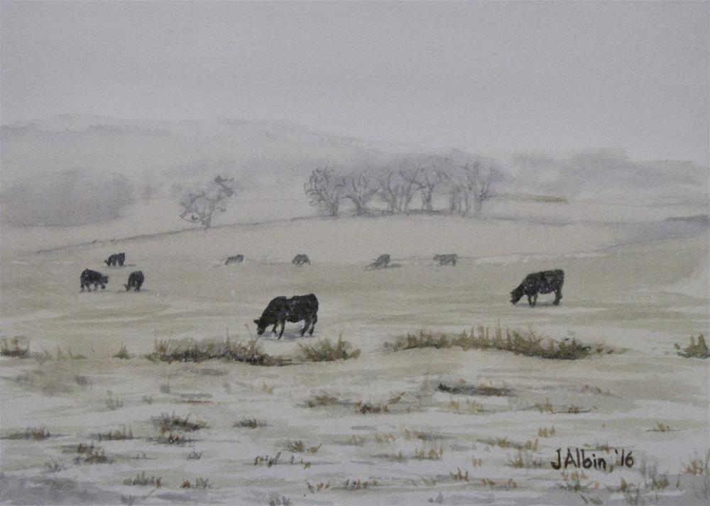 """Snowy Cattle Powder River, MT"" original fine art by Jane Albin"