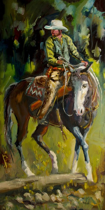 """DANCING COWBOY AND HIS BELOVED HORSE DIANE WHITEHEAD FINE ART"" original fine art by Diane Whitehead"